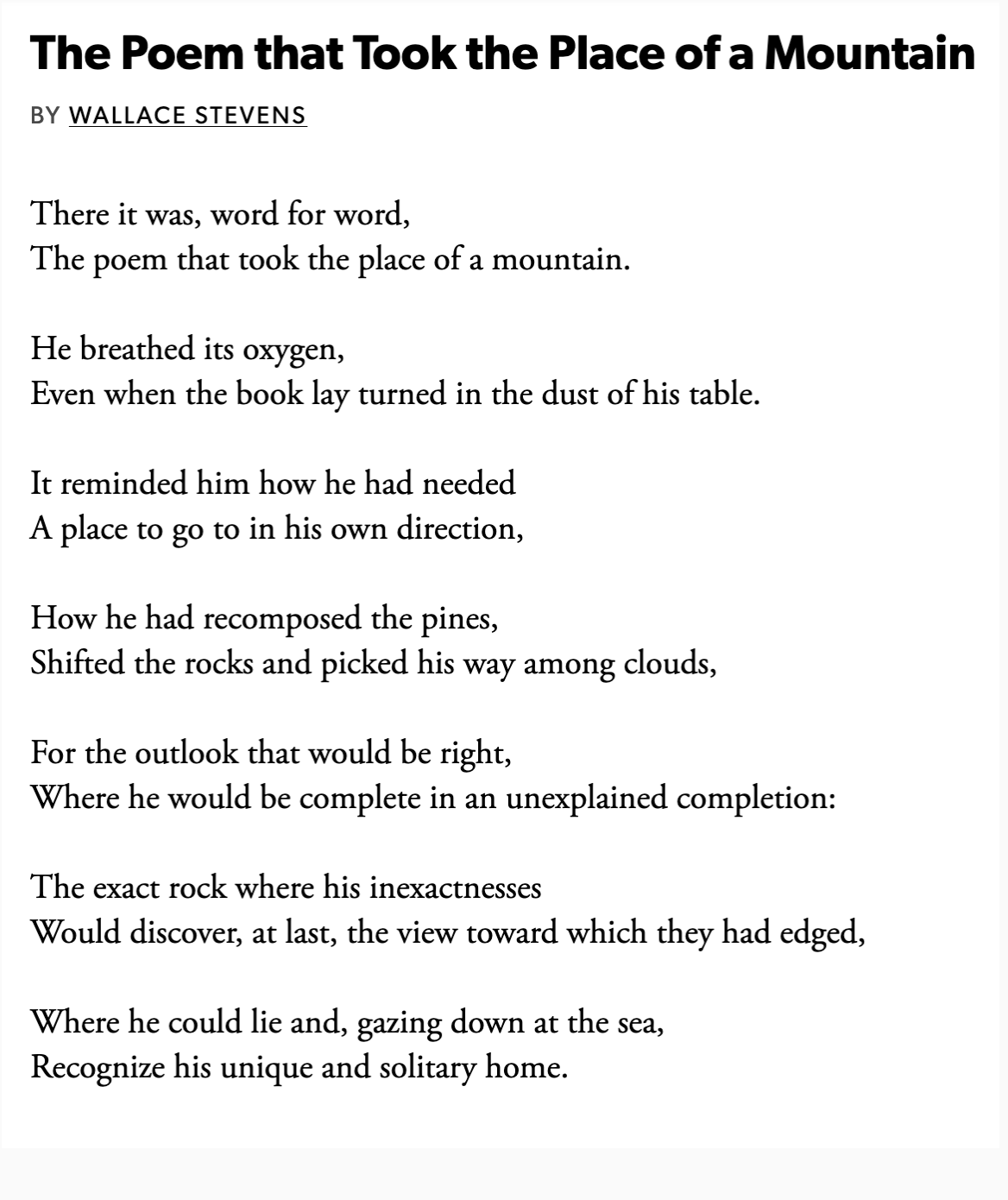 Wallace Stevens The Poem That Took The Place Of A Mountain